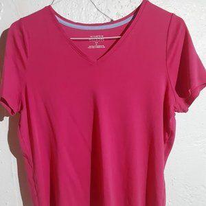 Talbots Short Sleeve T-Shirt V-Neck Hot Pink